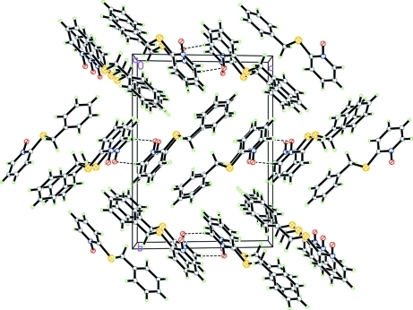 The crystal packing of the title compound, viewed along the a axis. Hydrogen bonds are shown as dashed lines.