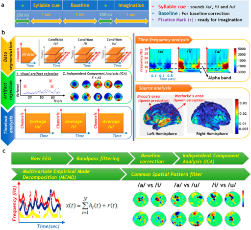 EEG analysis and processing(a) Experimental paradigm for EEG study consists of four parts. (b) EEG data analysis. (c) Signal processing.