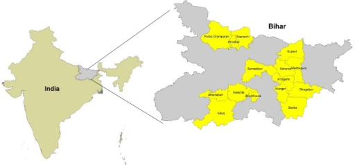 Districts included in the baseline and endline household coverage survey in Bihar.