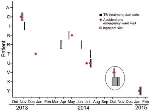 Timing of hospital visits and treatment for 10 tuberculosis (TB) cluster–associated patients, Gaborone, Botswana, 2013–2015. Patients were hospitalized or seen in the accident and emergency ward, and all had a history of such visits since 2004. Visits prior to October 2013 are not shown; these include visits in 2012 by patients A and I and additional visits by patients N, T, and U. None of the pre-October 2013 visits overlapped with those of other TB cluster–associated patients.