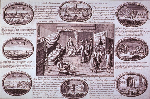 <p>Interior view: A man is shown asleep on a cot against a wall with several men gathered to examine him; a woman sits before a fire. Eight scenic vignettes with text form a border around the central figure.</p>