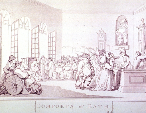<p>Interior view of the Pump Room at Bath:  Many gouty people in wheelchairs or walking with the aid of crutchers and canes proceed to the bar for drinks.</p>
