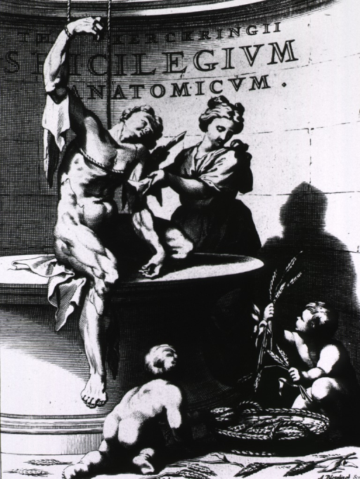 <p>Allegorical scene: a woman is beginning to flay the skin of a man who is in a sitting position on a table and held upright by ropes around his right arm and chest. Two cherubim are playing with a basket of wheat on the floor in the foreground.</p>