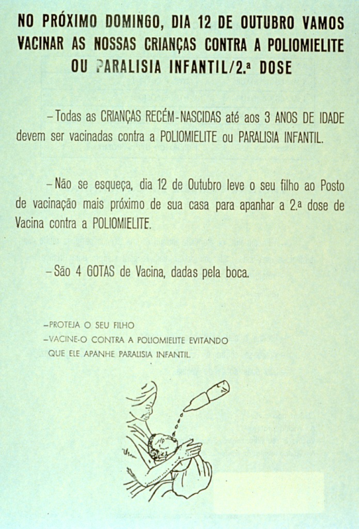 <p>Pale yellow poster with black lettering.  Title at top of poster.  Poster dominated by text announcing vaccination drive, urging that children age three or younger receive a second dose of the polio vaccine.  Visual image at bottom of poster is an illustration of a mother holding her child as four drops of the vaccine fall into the child's mouth.</p>