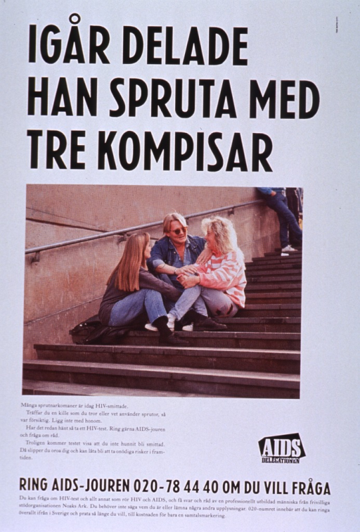 <p>Predominantly white poster with black and white lettering.  Title at top of poster.  Visual image is a color photo reproduction featuring three young adults sitting on a stairway.  Caption below photo discusses the relationship between injection drug use and HIV infection and urges testing.  Publisher logo near caption.  Hotline number for testing and information at bottom of poster.</p>