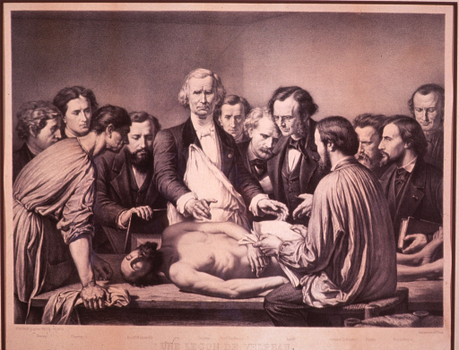 <p>Figures partially identified, grouped around a cadaver left to right:  Charnay (1), Charnay (2), H. Liouville, Velpeau, Desfossez, Lundy, Armand Sylvestre, Ronjat, and Feyen-Perrin.  Charnay (1 and 2), Ronjat, and Sylvestre were artists.</p>