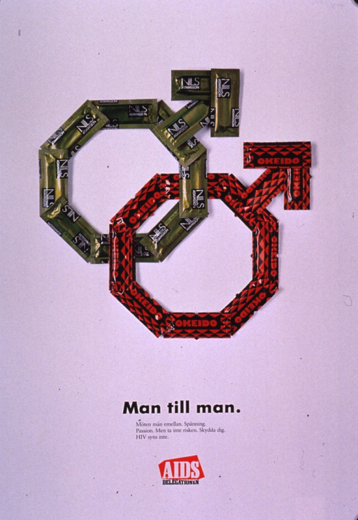 <p>Predominantly white poster with black and white lettering.  Visual image is a color photo reproduction featuring two interlinked male symbols.  The symbols are outlined by condom wrappers.  Title and caption below photo.  Caption addresses excitement and passion between men.  It discourages taking risks and urges protecting oneself, as HIV cannot be seen.  Publisher information below caption.</p>