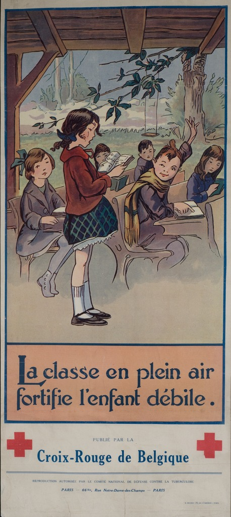 <p>Color poster with a reproduction of an unsigned color illustration, with a caption title in blue letters, of an open-air classroom.  A young girl in a green and blue checkered skirt and red sweater stands and reads from a book.  Another student, a young girl wearing a scarf, is seated at a desk and raises her hand.  Two symbols of the Red-Cross appear at the bottom, as does the publication information.</p>