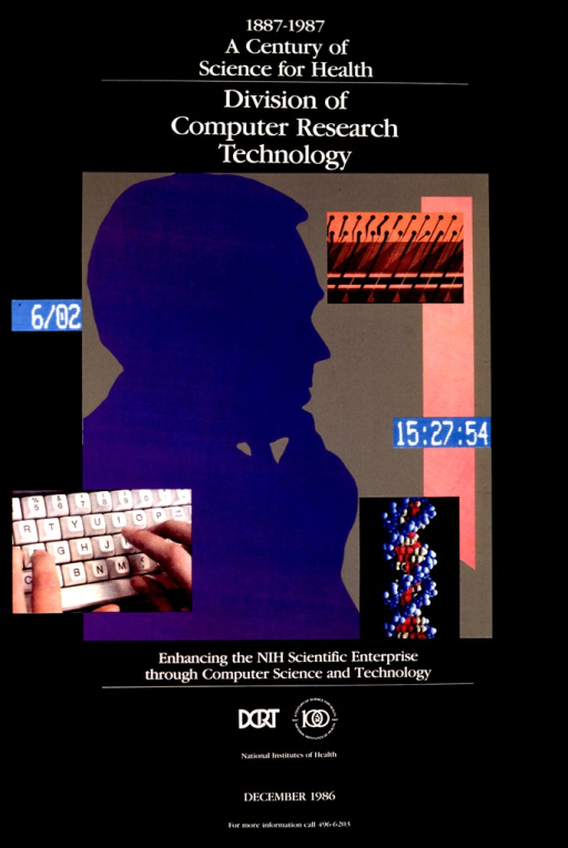 <p>Fingers typing on a keyboard, a double-stranded Helix DNA model, date and time LEDs, and a silhouette of a man with his hand on his chin, possibly pondering, are images used in celebrating computer science and technology.</p>