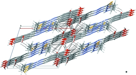 Crystal packing of (I) viewed down the b axis with hydrogen bonds drawn as dashed lines.