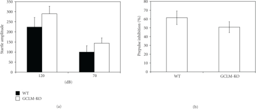 Prepulse inhibition/startle. Auditory startle response was measured using a startle chamber.  Startle amplitude was similar in wild-type and Gclm−/− mice, and a 70 dB prepulse inhibited the subsequent startle response to a similar extent in wild-type and Gclm−/− mice. Results are shown as mean ± SE (n = 12-13). WT: wild-type mice; GCLM-KO: Gclm−/− mice.