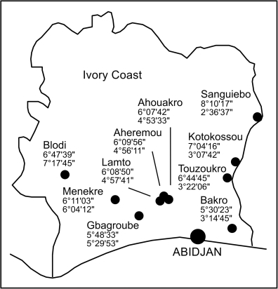 Map of Côte d'Ivoire showing the capture sites.Latitude North and longitude West coordinates are given below the name of the villages.