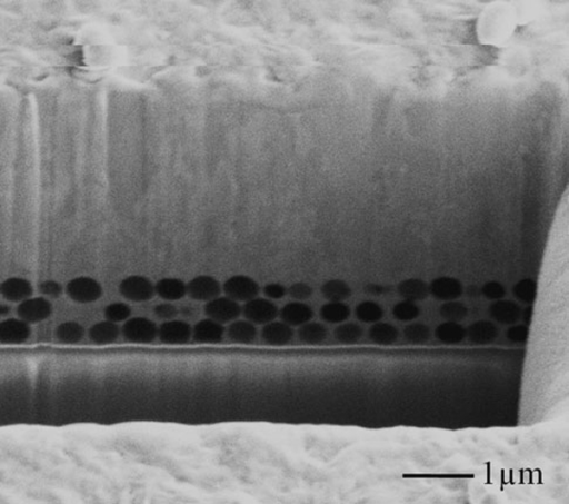 SEM image of a FIB cross-section on the edge of PS template after nickel electroforming.