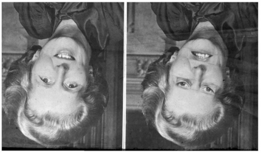 "The ""Thatcher illusion "" (Thompson, 1980). We first see two more-or-less identical faces. However, when they are turned around 180° to their proper orientation, it turns out that one face had been manipulated. These abnormal physical details had previously been perceptually obscured behind the meaningful experience of seeing a replication of the left-hand image. (This figure was first published in Thompson, P. ""Margaret Thatcher: a new illusion"" Perception, 1980, 9, pp. 483–484, reproduced by kind permission of Pion Ltd, London. Website: http://www.perceptionweb.com)."