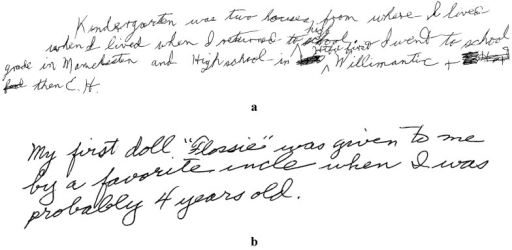 "Handwritten responses to the question What is your earliest memory? with proper names italicized in a verbatim transcription. (a) H.M.: ""Kindergarten was two houses from where I lived when I lived when I returned to high school. First I went to school grade in Manchester and High school in Htfd Willimantic + then E.H."" (Htfd represents Hartford; E.H. represents East Hartford). (b) Typical control participant: ""My first doll ""Flossie"" was given to me by a favorite uncle when I was probably 4 years old""."