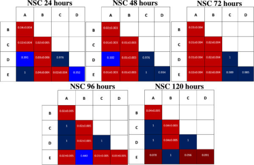 Pairwise multiple comparison analyses between groups of NPCs at different time intervals. Pairwise multiple comparison analysis was carried out using Tukey's HSD (Tukey's honest significant difference test). The data in red represents mean ± SD for statistically significant results (p < 0.05). P-values stated in blue indicate statistically insignificant comparisons (p > 0.05).