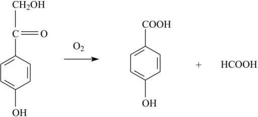 The reaction catalysed by 2,4′-dihydroxyacetophenone dioxygenase (DAD). The enzyme has a high affinity for oxygen, which is used for C—C bond cleavage of the substrate (2,4′-dihydroxyacetophenone), yielding 4-hydroxybenzoic acid and formate.