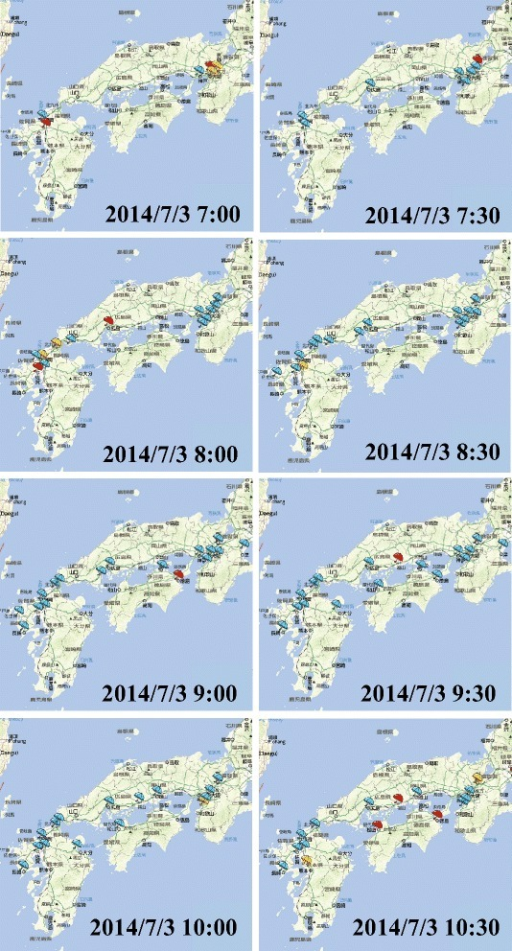 Extracted bursty areas in western Japan on July 3, 2014.