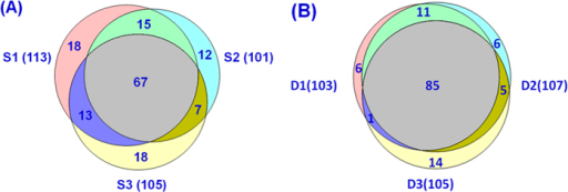 Venn diagrams of the matching b/y ions of the three technical replicate HCD spectra (S1, S2, and S3) of myoglobin (A) and identified unique proteoforms of the three technical replicate RPLC-MSMS datasets (D1, D2, and D3) of the E. coli intact proteome (B).