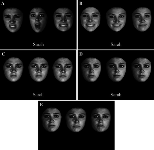 Examples of a learn trial in the face-name presentation session. a Multiple-expression training in all three experiments: a face is shown in three randomly chosen categorically different expressions: Disgust, Surprise and Fear. b Single-expression training in Experiment 1: The same face is shown in a randomly chosen expression of three varying strengths. The emotional strengths of the three images from the left to right were at levels of 3, 2, and 1, where 1 represents the weakest strength of the happy expression. c Single-expression training in Experiment 2: The level of emotional strengths of the three images had the identical strength of 4 of the sad expression. d Single-expression training in Experiment 3: All three images had the identical neutral expression. e An example of a test trial in Experiment 1. The emotional strengths of the three images from the left to right were levels 3, 1, and 2 of the sad expression. In Experiments 2 and 3, the three test images were identical to one another