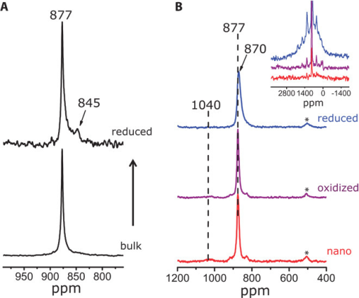 Solid-state NMR spectra of reduced ceria in comparison with bulk and nanosized ceria.(A) 17O NMR spectra of bulk ceria enriched in 17O2 at 1073 K (bottom) and reduced in H2 atmosphere at 1073 K (top). (B) 17O NMR spectra of nanosized ceria enriched in 17O2 at 773 K (bottom), reduced in H2 atmosphere at 773 K (top), and reoxidized in air reduced ceria (middle). Inset shows the full width of the three 17O spectra. A rotor-synchronized Hahn-echo sequence (π/6 - τ - π/3- τ - acquisition) was used. Data were obtained at 9.4 T under a MAS rate of 20 kHz. One hundred thousand (A, bulk), 300,000 (A, reduced), 1024 (B), and 40,000 scans (B, inset) were averaged, and recycle delays of 0.1 s (A), 1 s (B), and 0.01 s (B, inset) were used. Asterisks denote spinning sidebands.