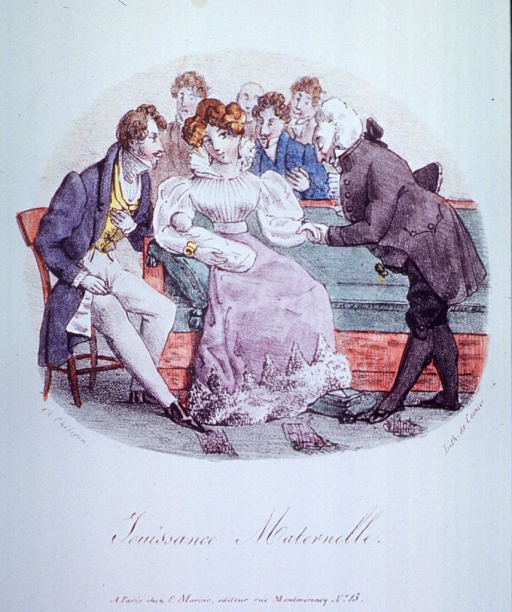 <p>A woman sitting on a sofa holding an infant; a man is sitting on a chair to her left, and a sheepish-looking character holding her hand, bows slightly to her; a group of men stands behind the sofa.</p>