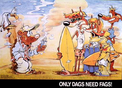 <p>Multicolor poster with white lettering.  Visual image is a cartoon-style illustration.  On the right side of the poster, four healthy and happy animals stand together, ready for a day at the beach.  On the left side of the poster, a sweating bear leans against a post, smoking a cigarette.  The bear holds an open pack of cigarettes in one hand and looks up at the group of animals across from him, as if offering them the cigarettes.  Title at bottom of poster.</p>