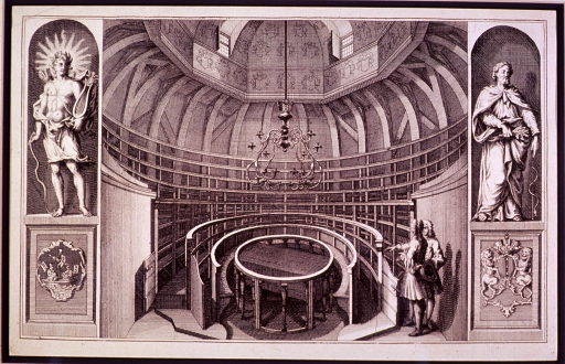 <p>Interior view of amphitheater with a table for dissection situated beneath a canelabrum; two men are standing to the right in consultation; flanking the amphitheater are two statues, on the right is Aesculapius with caduceus, left is Hermes(?).</p>