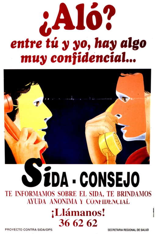 <p>White poster with black and maroon lettering.  Title at top of poster.  Visual image is a color illustration of two people facing each other and speaking on the phone.  Both people wear masks.  Caption and note, below illustration, indicate that anonymous, confidential advice about AIDS is available.  Publisher information at bottom of poster.</p>