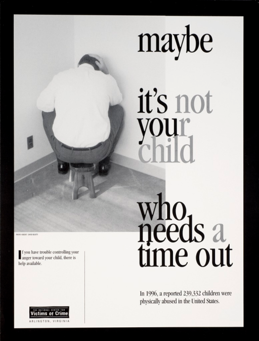 <p>Black and white poster with grey and black lettering. Visual image is a man sitting in the corner of a room on a child's stool with his head down. Title next to image. Note below title. Publisher information at bottom of poster.</p>