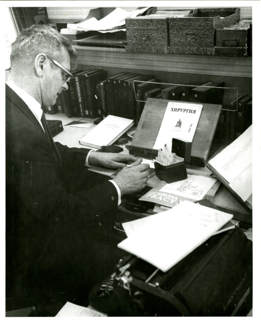 <p>Indexer Stanley Jablonski in the Bibliographic Services Division Literature Analysis Section of the National Library of Medicine.</p>