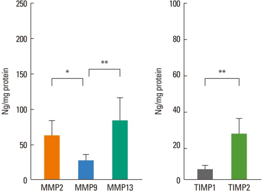 The levels of MMP-2, MMP-9, MMP-13, TIMP-1, and TIMP-2, as determined by specific ELISA, in the nasal mucosa of PAR patients. MMP-2 and MMP-13 levels were higher than the MMP-9 level, and the TIMP-2 level was higher than the TIMP-1 level in allergic nasal mucosa. *P<0.05, **P<0.01, Wilcoxon signed-rank test; n=6.