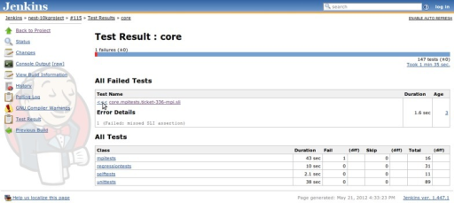 Jenkins detailed test report view also featuring links to other details pages, such as build log (console output), information on which changes triggered the build, historical trends for test results, and warning analysis, etc. For failed tests, one can immediately check out the return code or exception raised (depending upon which information is provided by the JUnit generator) or browse to the details page which provides a full backtrace. Tests are aggregated in packages and for each package the total duration, total number of tests, as well as the amount of failed and skipped tests are reported in the summary table.
