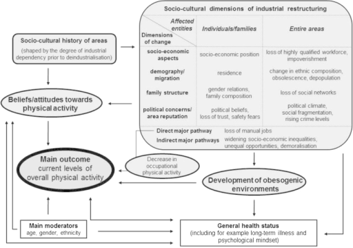 A conceptual framework linking PA to socio-cultural dimensions of industrial decline.