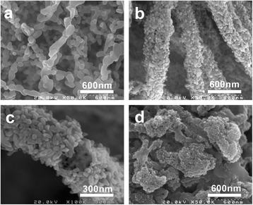 FE-SEM images of α-Fe2O3 with diverse shapes prepared at different ion concentrations. (a) a in Table 2; (b, c) b in Table 2; (d) d in Table 2.