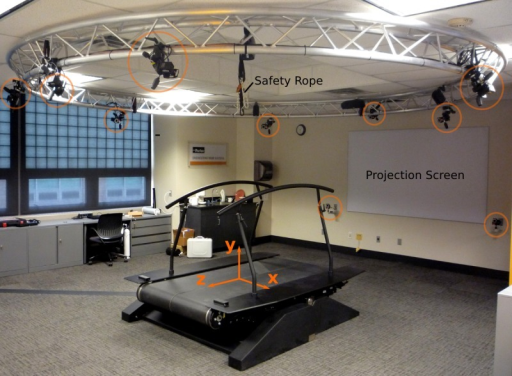 The treadmill with coordinate system, cameras (circled in orange), projection screen, and safety rope.The direction of travel is in the −z direction.
