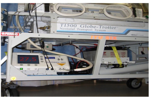 Power SourceBattery source for the cooling machine secured on the trolley (Photograph courtesy Greater Manchester Neonatal Transport Team Manchester United Kingdom)