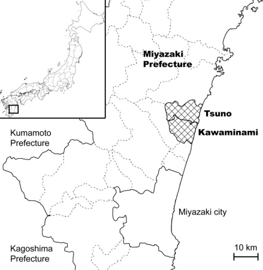 A map of Miyazaki prefecture showing Kawaminami and Tsuno.