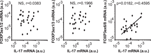 Alternative splicing of FOXP3 exon 7 correlates with IL-17A expression.Quantitative PCR was used to measure FOXP3 and IL-17A transcript levels in colon biopsies from patients suffering from Crohn's disease and normalized to GAPDH expression (n = 26). Data are presented as mean of n = 3 technical replicates. P < 0.05 was considered significant, Spearman rank correlation test; r = correlation coefficient).