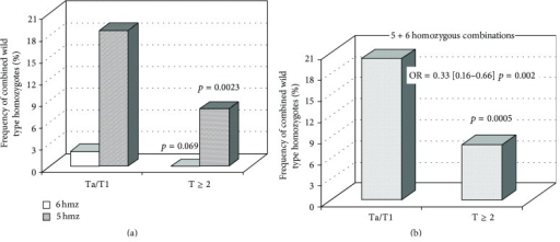 Distribution of wild type homozygous combinations in non-muscle-invasive and muscle-invasive urothelial carcinomas. 6 hmz correspond to combination of all six wild type homozygotes; 5 hmz correspond to total combinations containing any five wild type homozygotes. The Ta/T1 group was represented by 289 samples, whereas the T ≥ 2 group consisted of 120 samples.
