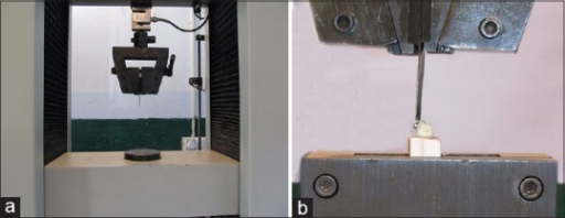 Universal testing machine (a) showing the orientation for alignment loading blade of UTM (b)