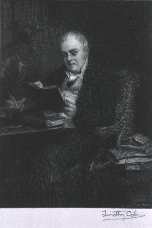 <p>3/4 length, left pose, seated in chair at table, reading.</p>