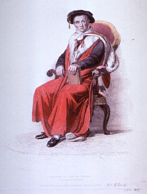 <p>Full length, seated, left pose, face to front, wearing robe and cap, hand on book.</p>