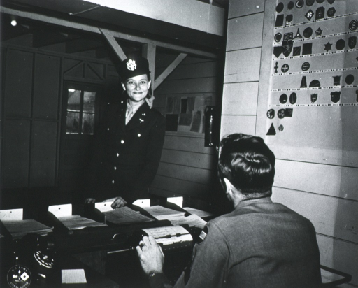 <p>Half-length, standing at desk, full face; wearing uniform and cap.</p>