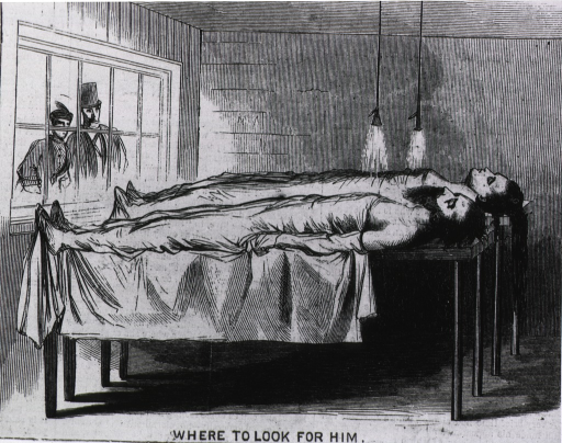 <p>Interior of the New York Morgue, with two cadavers on table under spray.  Last panel in series &quot;The Adventures of a Missing Man&quot;.</p>