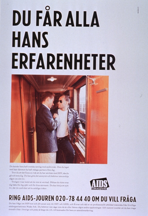 <p>Predominantly white poster with black and white lettering.  Title at top of poster.  Visual image is a color photo reproduction featuring two men standing in a doorway or hallway.  Caption below photo discusses the risk of HIV infection for men who infrequently have sex with other men and urges testing.  Publisher logo near caption.  Hotline number for testing and information at bottom of poster.</p>