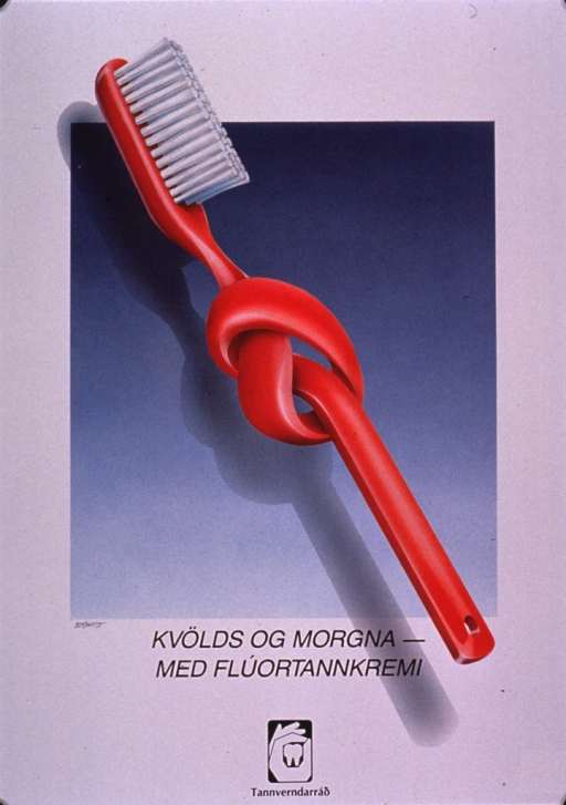 <p>Predominantly white poster with black lettering.  Visual image is an color illustration of a toothbrush, the handle of which is knotted.  Title below illustration.  Publisher information at bottom of poster.</p>