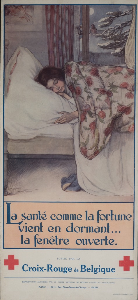 <p>Color poster with a reproduction of a color illustration, with a caption title in blue letters, by A.M. Upjohn.  The illustration is of a young girl sleeping on a bed, covered with a blanket with a design of pink roses.  Behind the bed is an open window, the drapes fluttering in the breeze, that looks out onto a snow-covered scene.  Two symbols of the Red-Cross appear at the bottom, as does the publication information.</p>