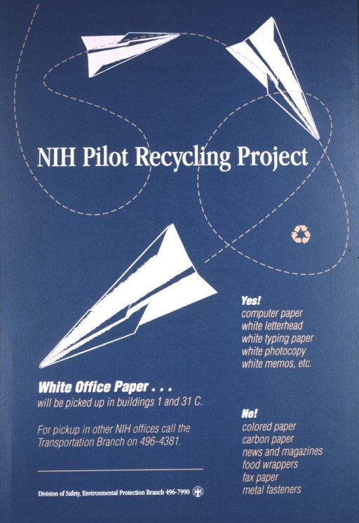 <p>Teal green poster with a white paper airplane doing loops.  The recycling symbol is inside one of the loops and the lower right side indicates a list of what can/should be recycled (headed by &quot;Yes!&quot;) and a list of what can't/shouldn't be recycled (headed by &quot;No!&quot;).</p>