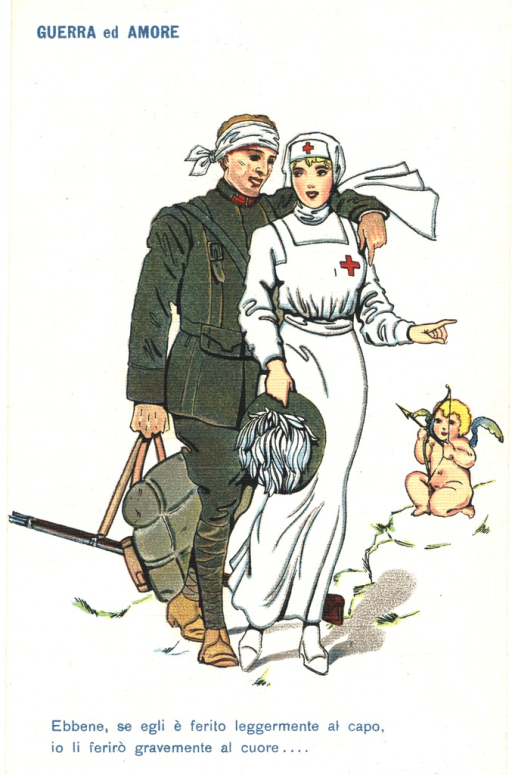 <p>Postcard featuring a color illustration of a nurse and a soldier standing together. The soldier is wearing a military uniform and has a bandage on his head. He is holding his gun and pack in his right hand, and has his left arm around the nurse's shoulder. The nurse is clothed in white, with a red cross on her headcloth and dress. She is holding the soldier's hat with her right hand and pointing outward with her left. Nearby there is a naked cupid with yellow hair, who is aiming an arrow in the general direction of the soldier and nurse.</p>
